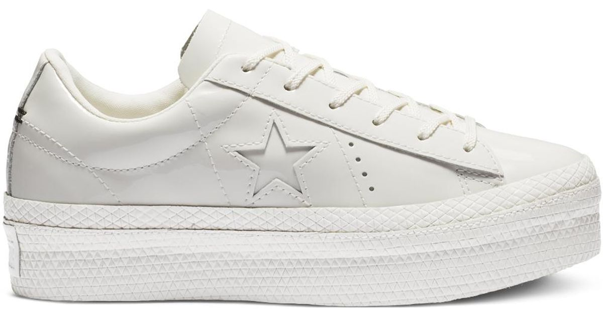 8f4a3d1cce94 Converse One Star Platform Patented  90s Faux Leather Low Top in White -  Lyst