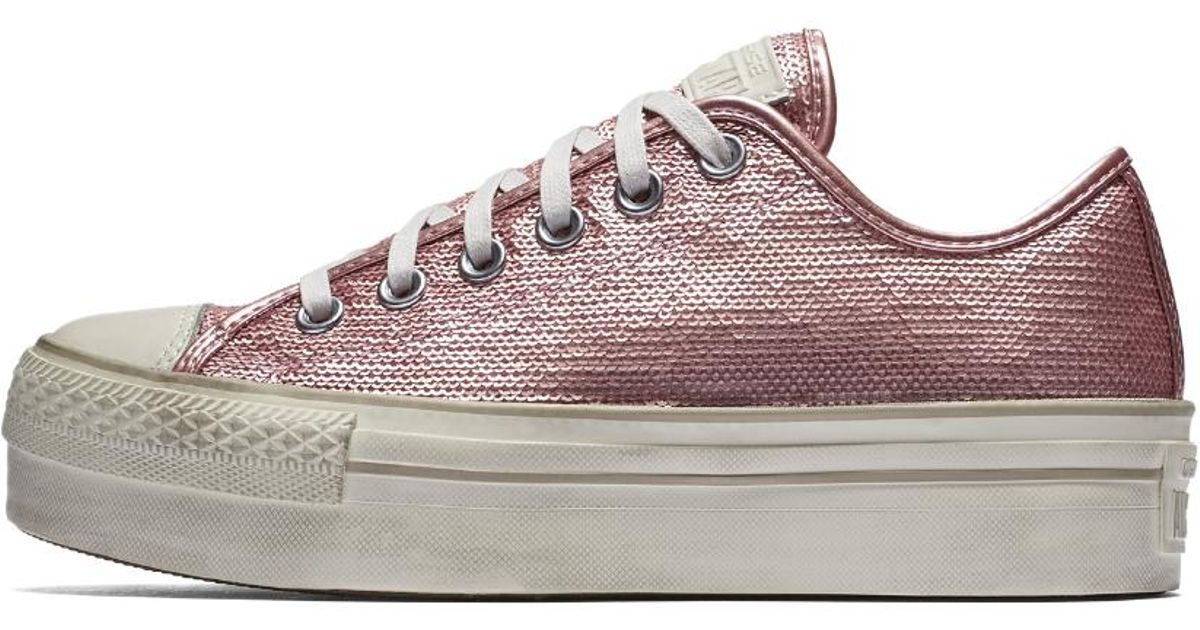 95990502873 Lyst - Converse Chuck Taylor All Star Sequin Platform Low Top Women s Shoe  in Pink