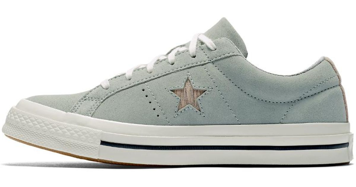 e9c483f369a Lyst - Converse One Star Precious Metal Suede Low Top Women s Shoe in White
