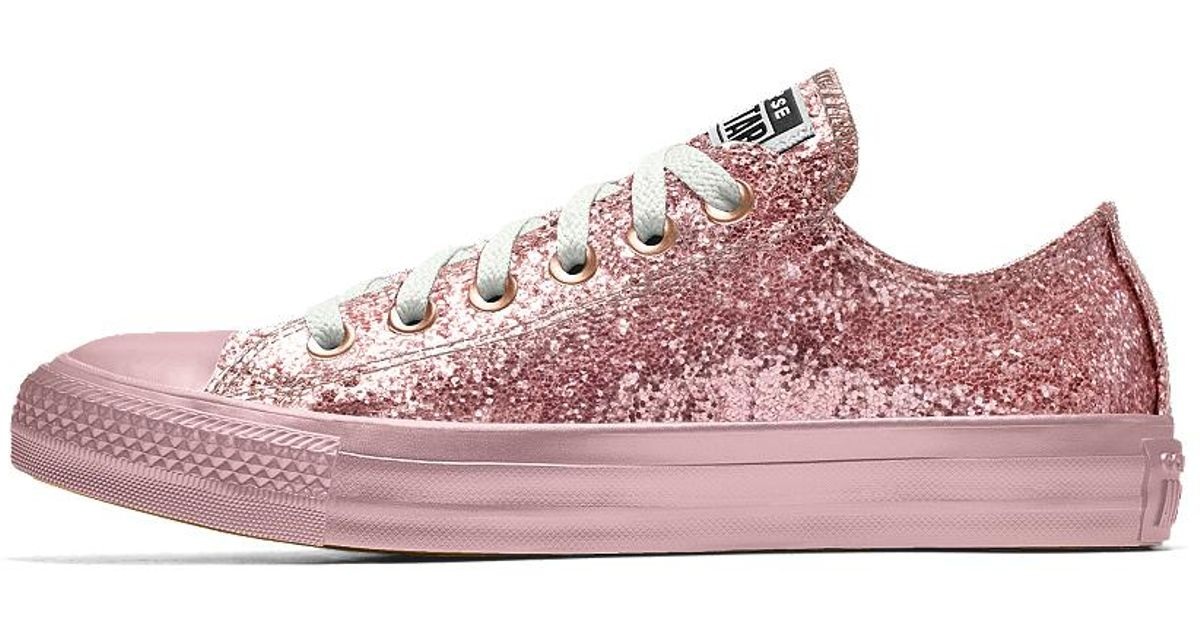 8319636d94c3 Lyst - Converse Custom Chuck Taylor All Star Glitter Low Top Shoe in Pink