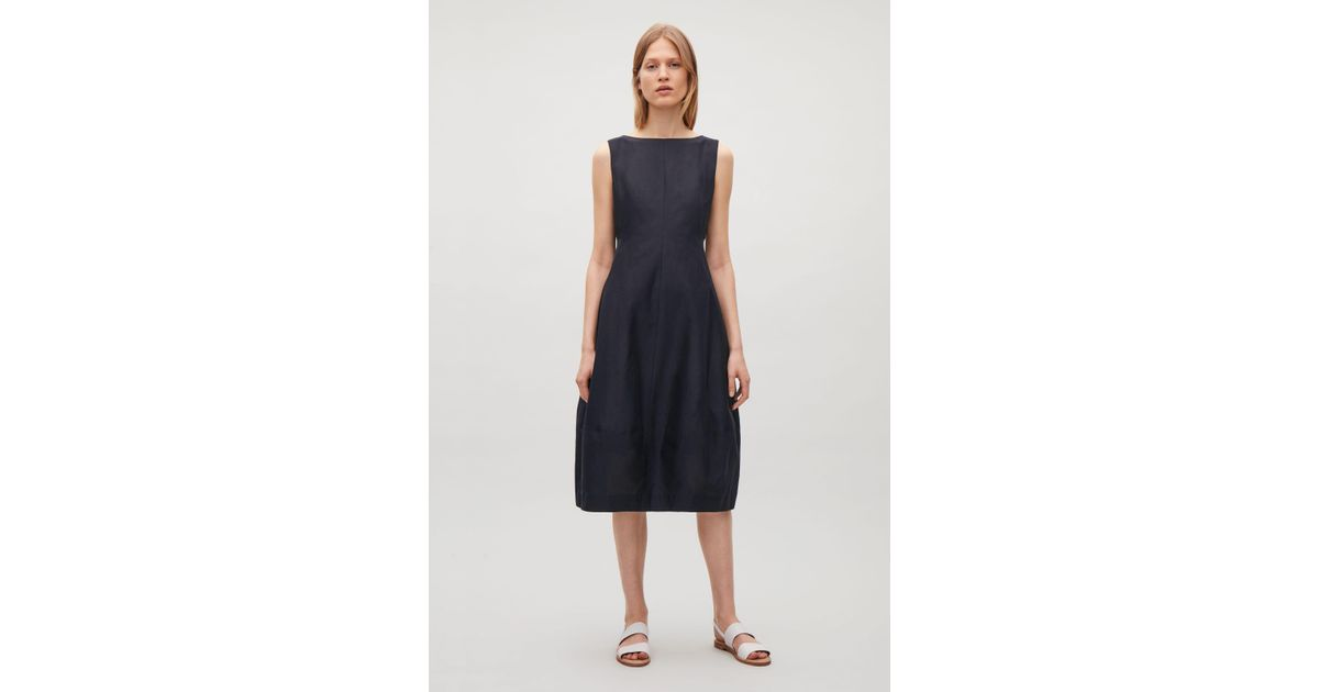 1ad32d22db Lyst - COS Sleeveless Dress With Cocoon Skirt in Blue