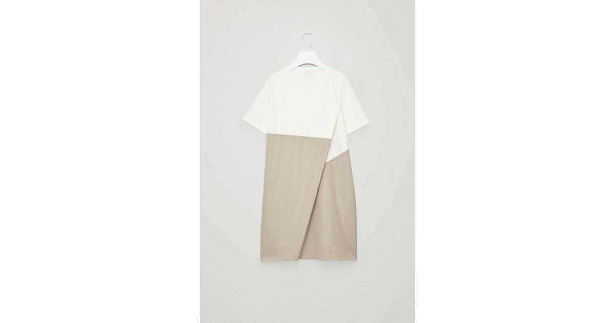 b39be0b00b23 COS Poplin-panelled Jersey Dress in White - Lyst