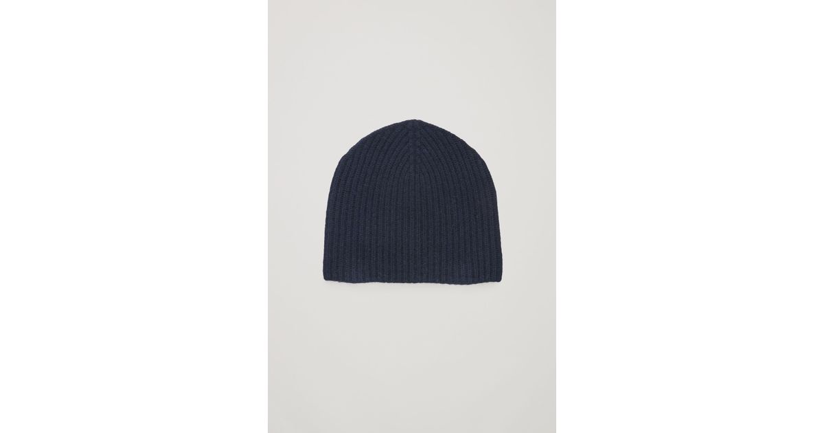 e684cfbb79b5f COS Ribbed Cashmere Hat in Blue - Lyst