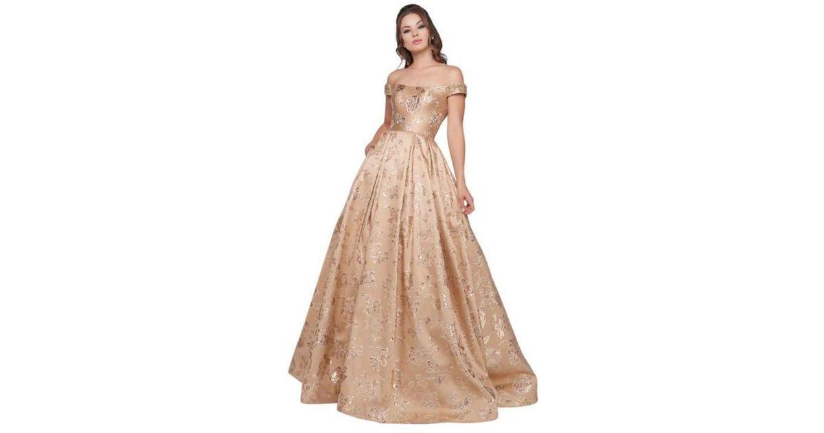 e48cdfa9215 Mac Duggal Ballgowns - 40893h Off Shoulder Floral Brocade Ballgown - Lyst