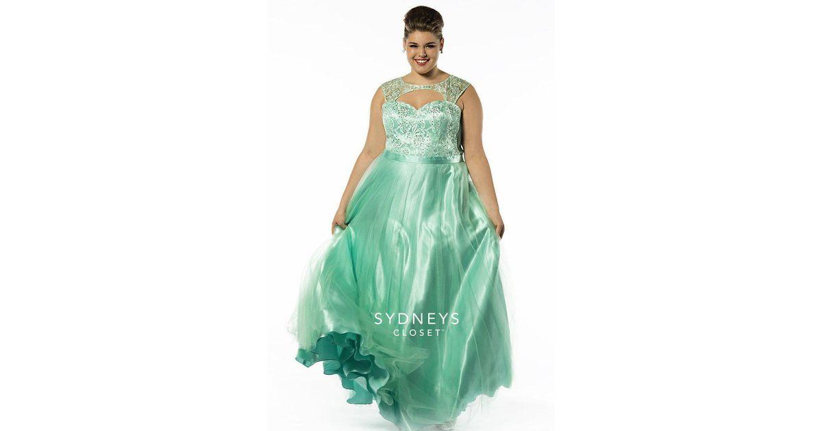 Lyst Sydney S Closet Sc7146 Plus Size Dress In Mint In Green