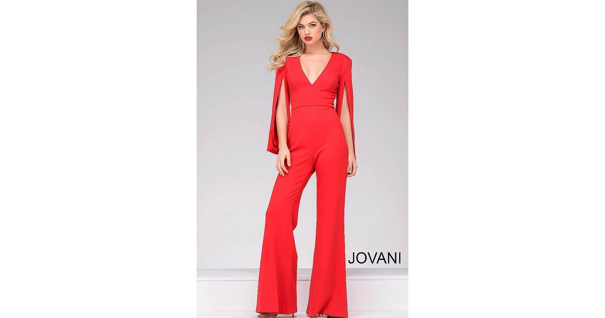931017c8e37 Lyst - Jovani Hanging Sleeve Knit Jumpsuit in Black