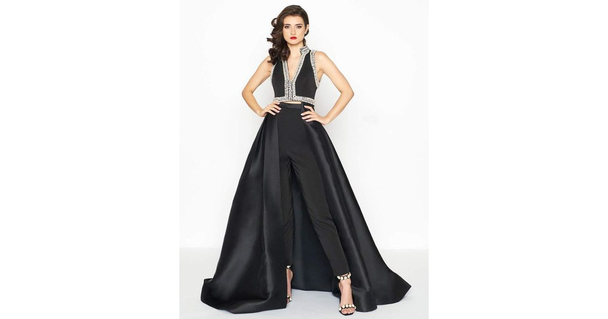 0141c3c2742 Lyst - Mac Duggal 12095r Two Piece Pearl Trimmed Jumpsuit With Overskirt in  Black