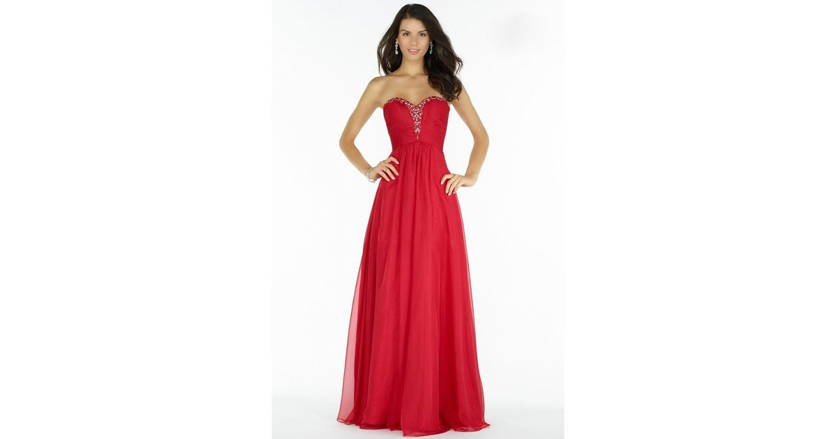 a8e330834730 Lyst - Alyce Paris Prom Collection - 8022 Long Chiffon Prom Dress With Ruched  Bodice in Red
