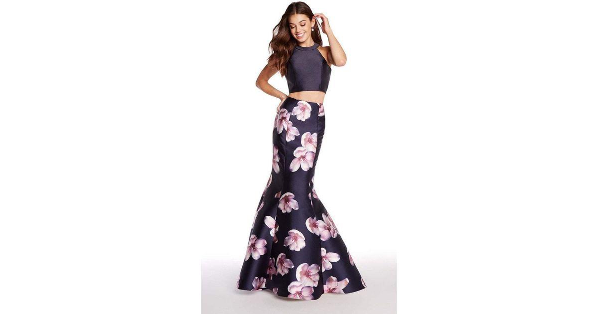 57e1e6c9d4ae Lyst - Alyce Paris 60178 Two-piece Floral Print Mikado Mermaid Gown in Blue