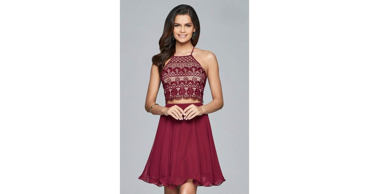 3c941b5973 Lyst - Faviana Halter Neck Two-piece Short Dress S8066 in Red