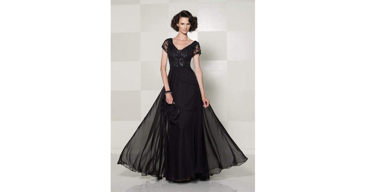 3bdfb19c67 Lyst - Mon Cheri Cameron Blake - V Neck A Line Long Dress With Short  Sleeves 114660 in Black