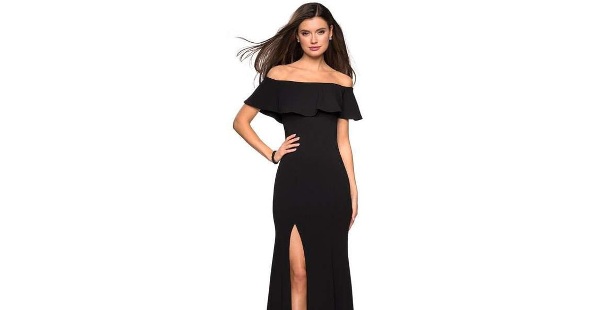 d4f5044d940 Lyst - La Femme 27096 Ruffled Off-shoulder Jersey Trumpet Dress in Black