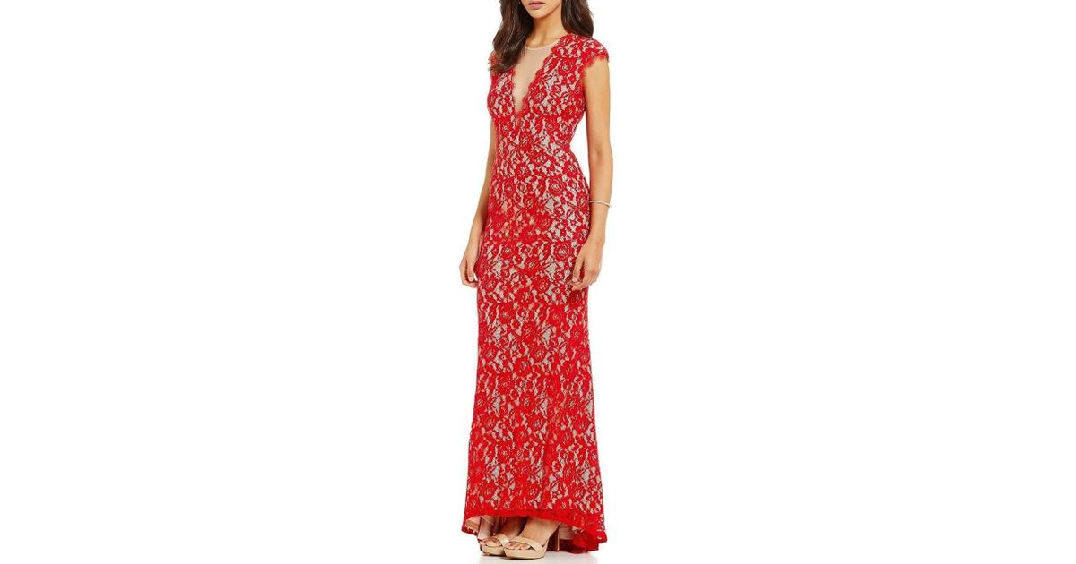 c65e6eb64c5d4 Lyst - Aidan Mattox 151a98160 Keyhole Cutout Floral Lace Gown in Red