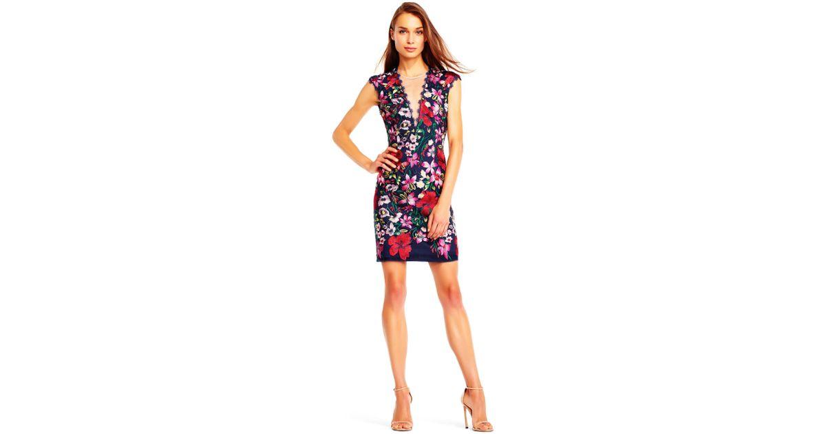 f4e3a59b86a Lyst - Aidan Mattox Mn1e201728 Floral Embroidered Illusion Cocktail Dress