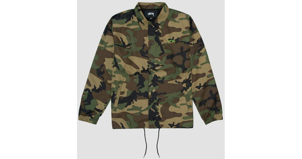 8b1b25c2a1b40 Stussy Camo Cruize Coach Jacket in Green for Men - Lyst
