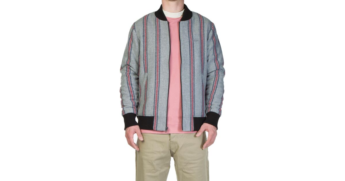 0fc07291c Stussy - Gray Wool Stripe Bomber Jacket Grey for Men - Lyst