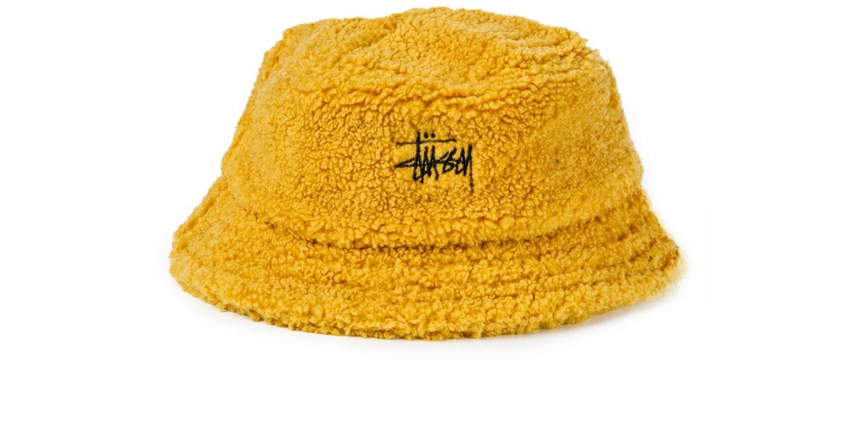 7d23c734538 Lyst - Stussy Sherpa Fleece Bucket Hat in Yellow for Men