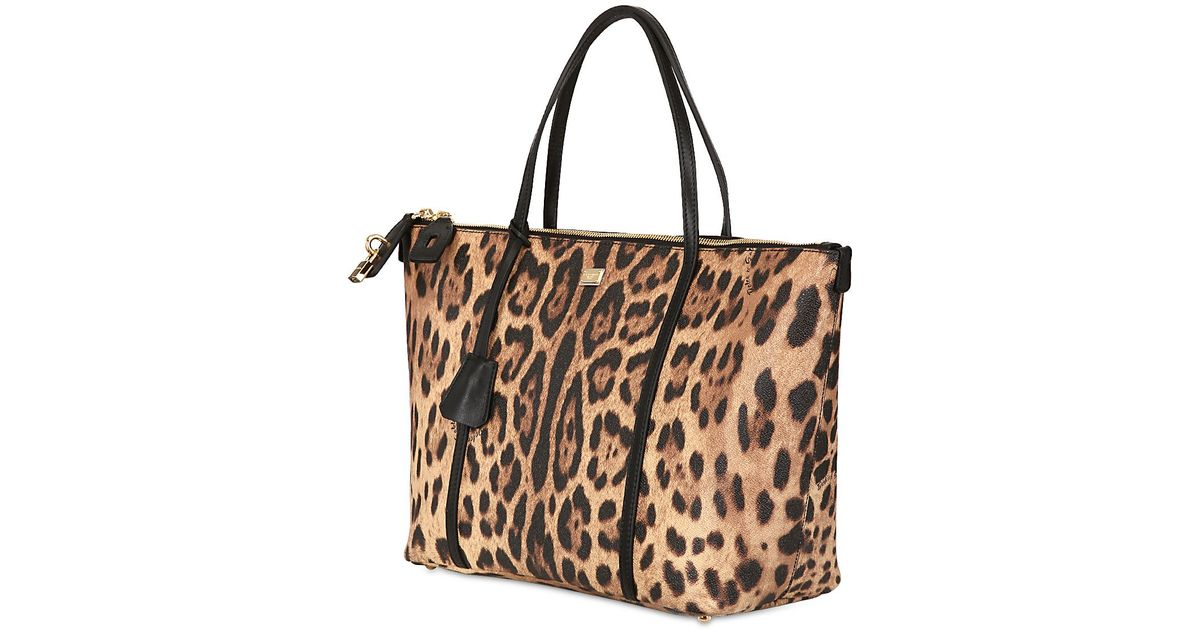 1a7a91533c2 Dolce & Gabbana Miss Escape Leopard Print Tote Bag - Lyst