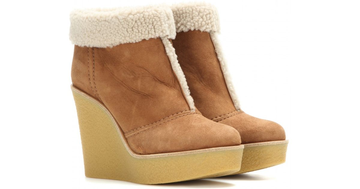 Chloé Shearling Wedge Ankle Boots view online fast delivery cheap online outlet deals cheap outlet locations qRpgcUcK2