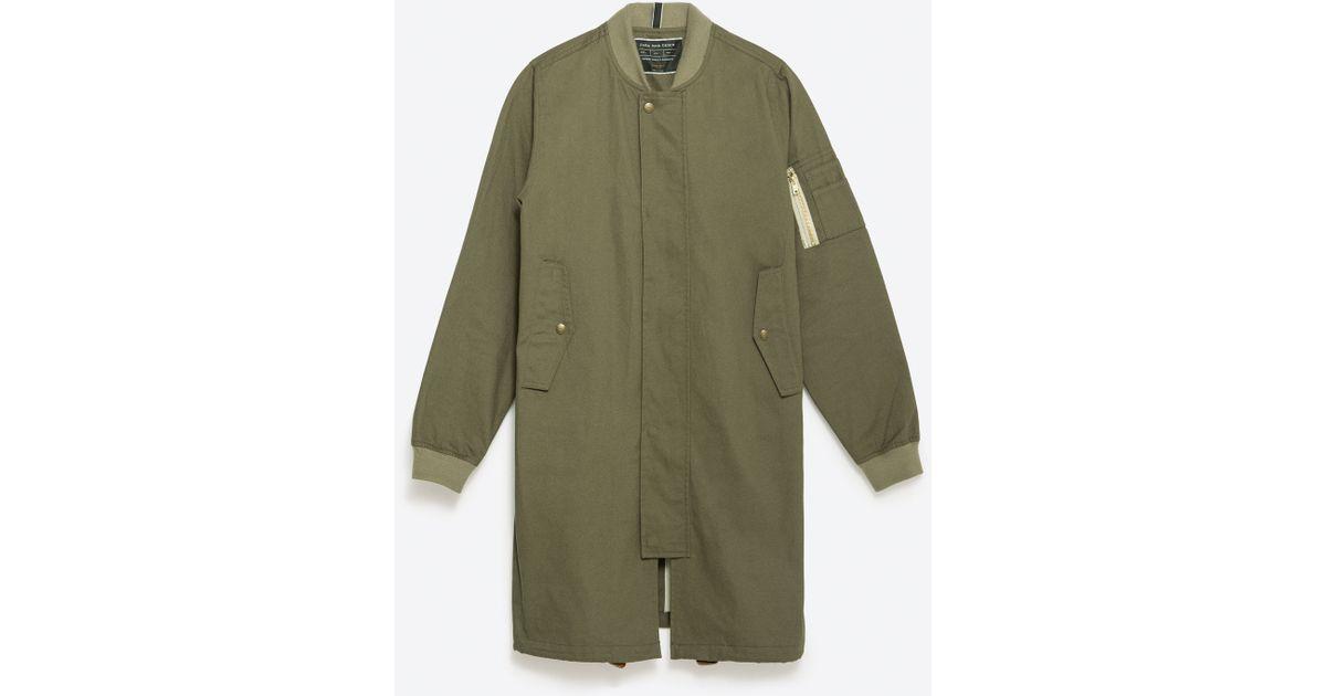 Zara Long Fit Bomber Jacket In Green For Men Lyst