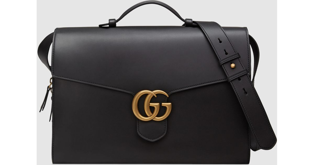 de8be85ed5aa Gucci GG Marmont Leather Briefcase in Black for Men - Lyst