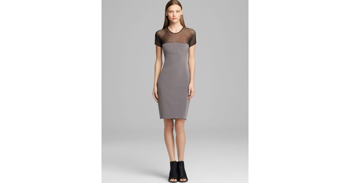 Lyst - Dkny Sheath Dress with Contrast Mesh Yoke in Black b3d58bbe6