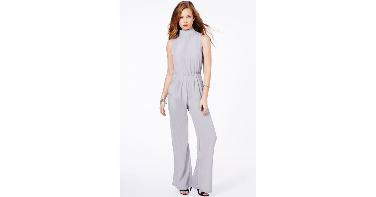 4385583a9185e5 Lyst - Missguided Megara High Neck Jumpsuit In Grey in Gray