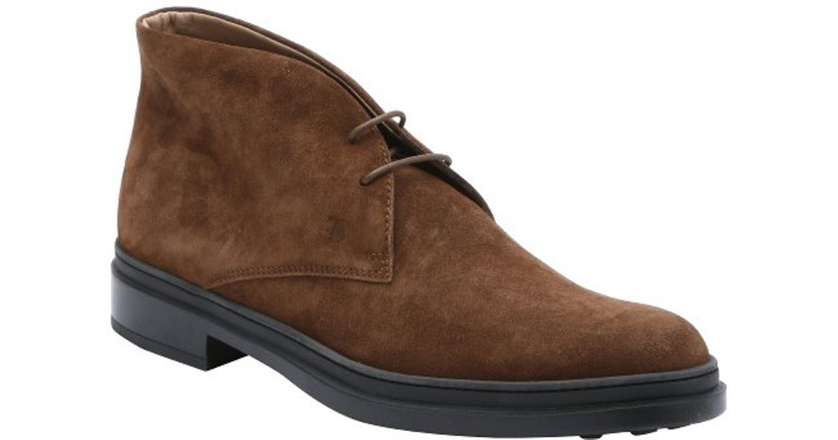 tod s brown suede lace up chukka boots in brown for lyst
