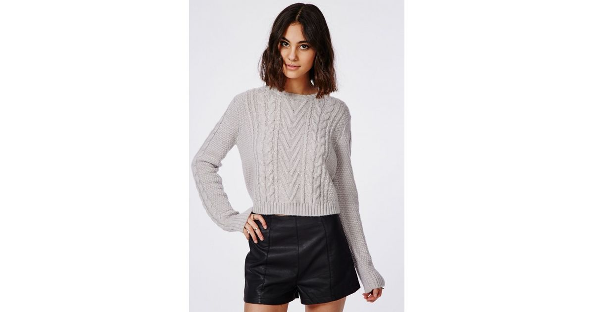 Missguided Cropped Cable Knit Oversized Slouch Sweater Grey in Gray - Lyst d2e1fbb3e