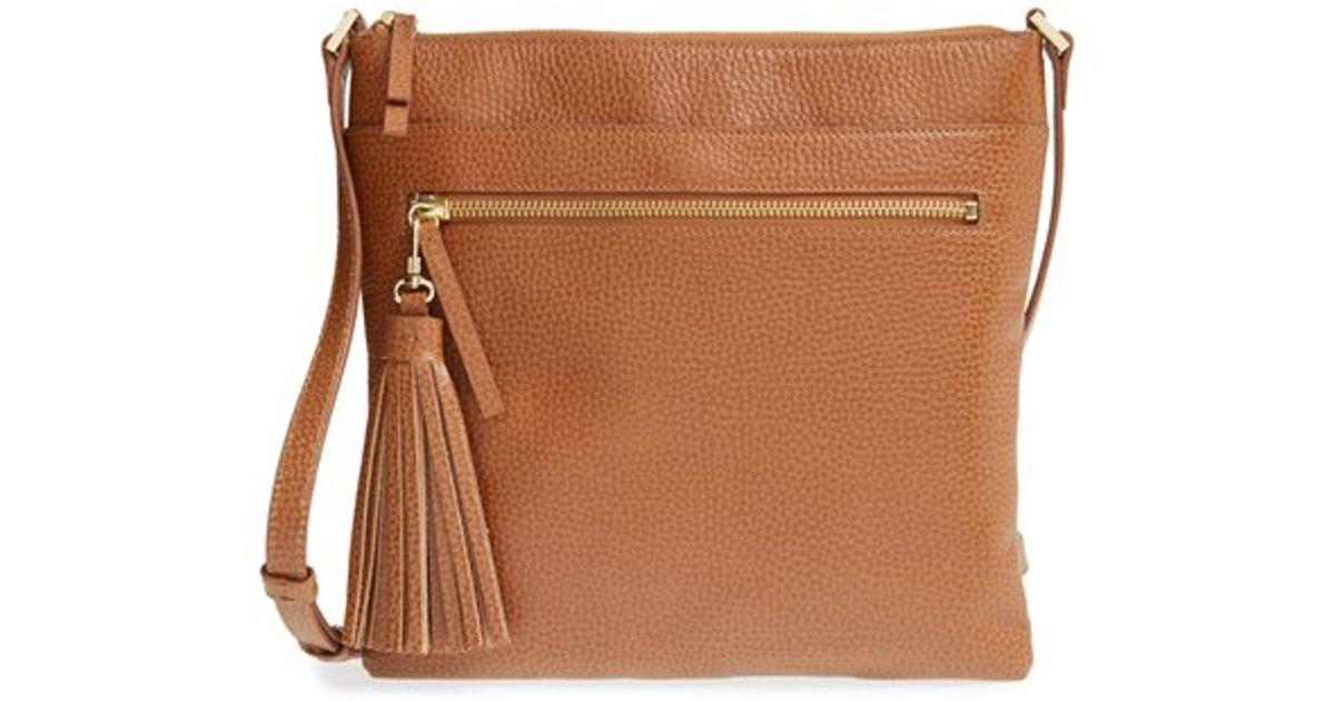 675691a1ce Halogen Tasseled Leather Crossbody Bag in White - Lyst