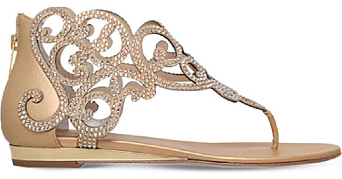 ecb213168 Lyst - Rene Caovilla Moonlight Crystal-embellished Sandals in Metallic