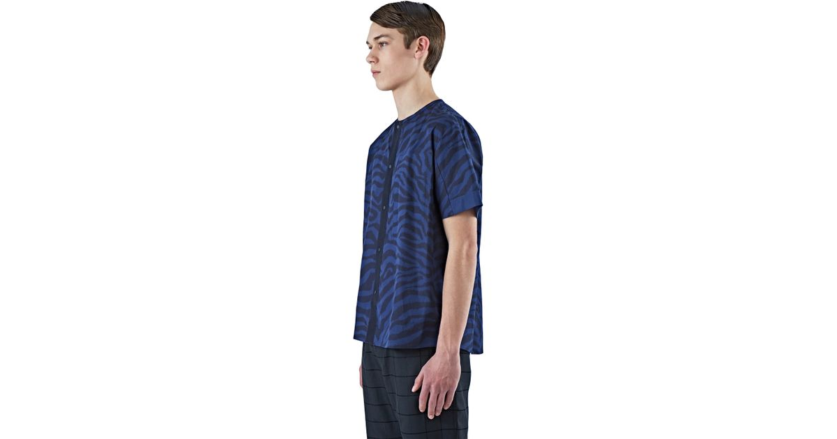 Oamc men 39 s short sleeved snap front shirt in blue in blue for Mens shirts with snaps instead of buttons