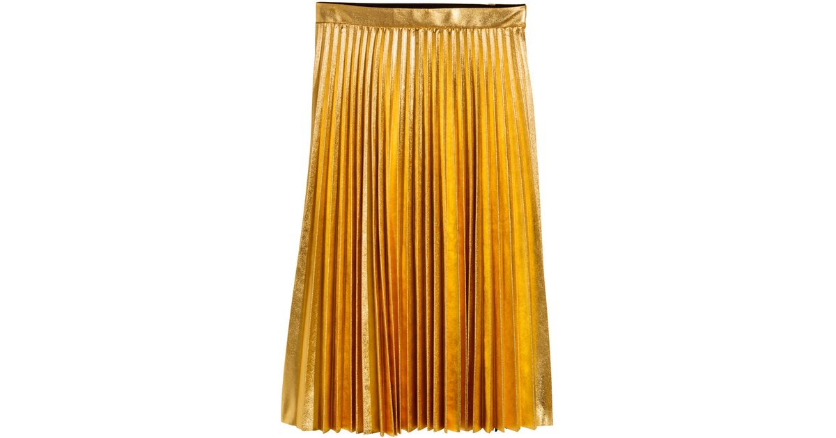 7e958d6588 H&M Pleated Skirt in Metallic - Lyst
