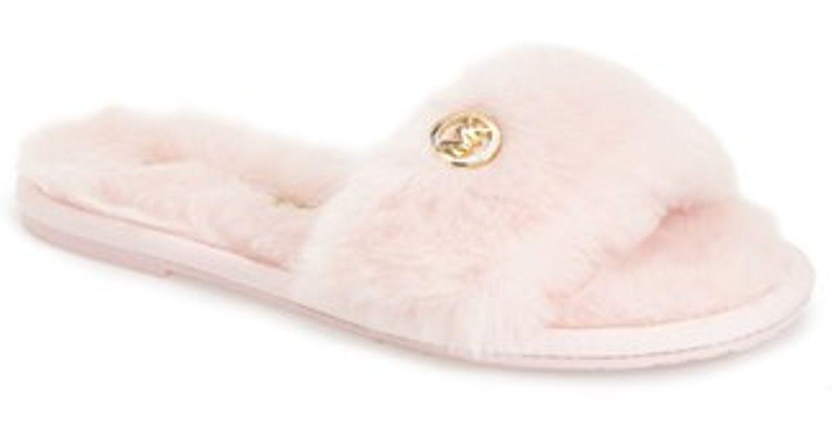 9179e86ee314 Lyst - MICHAEL Michael Kors Faux Fur Slide Slipper in Pink