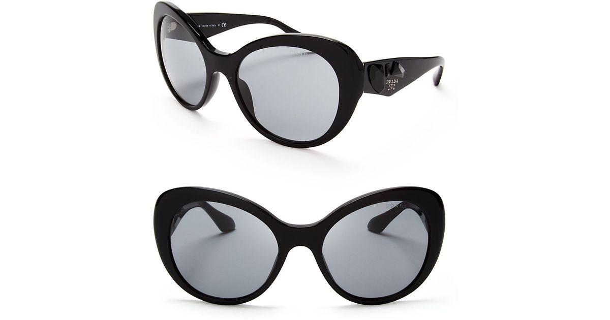 fc039f4cb05a Lyst - Prada Oversized Crystal Cat Eye Sunglasses in Black