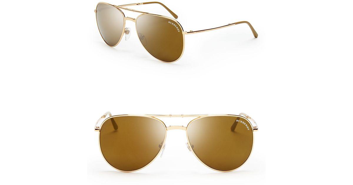 b707c7ee86b Lyst - Burberry Folding Aviator Sunglasses in Metallic