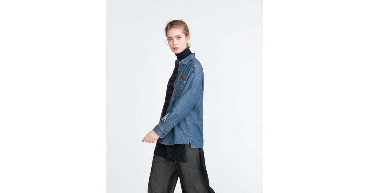 Zara oversized patch shirt in blue lyst for Zara mens shirts sale