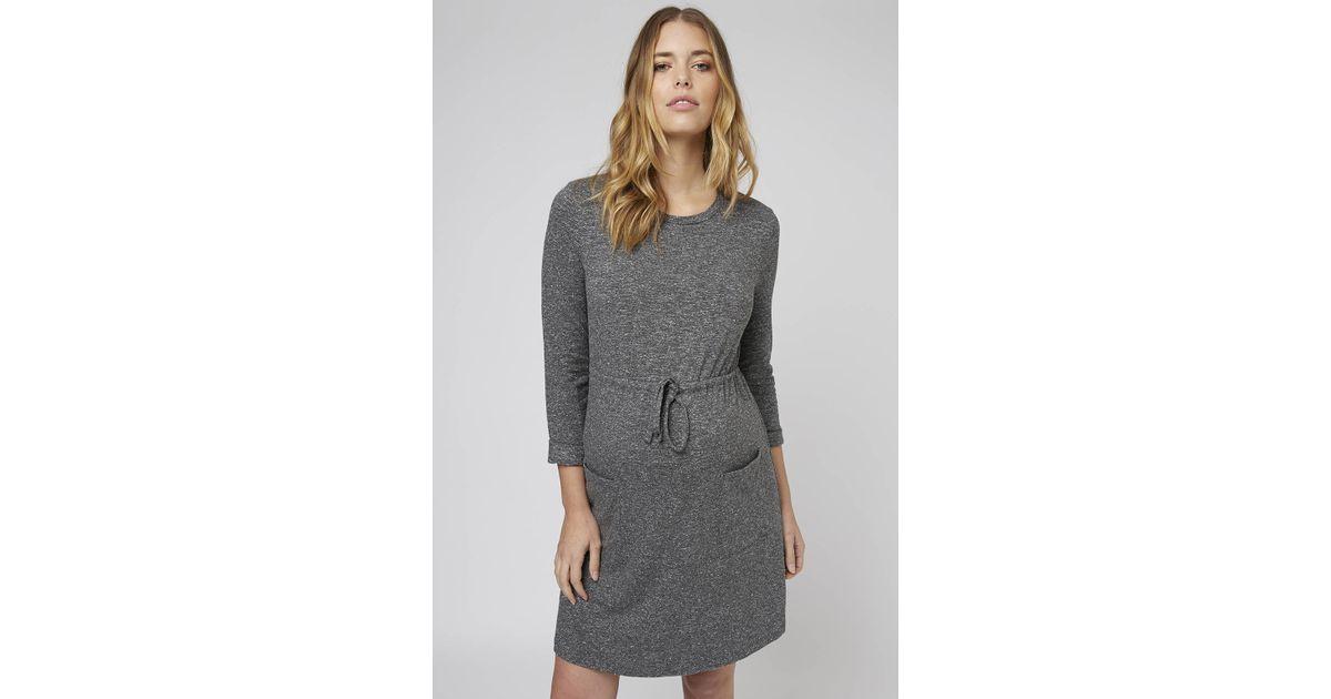In Maternity Drawstring Gray Dress Lyst Topshop TOPukXZi