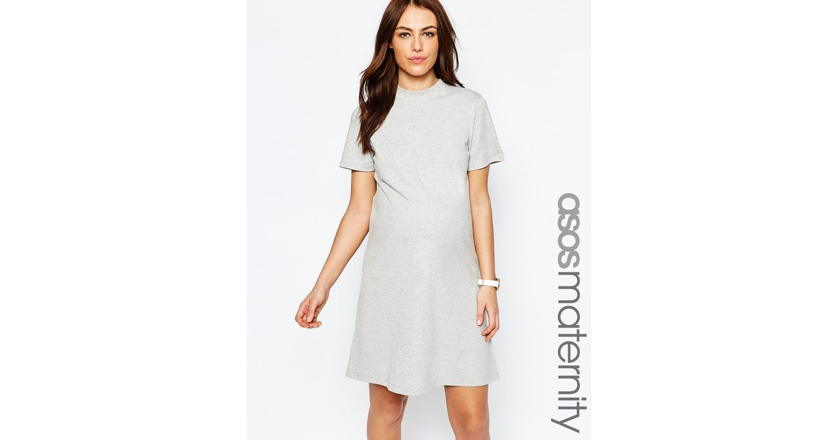 Asos Maternity High Neck T Shirt Dress In Gray Greymarl