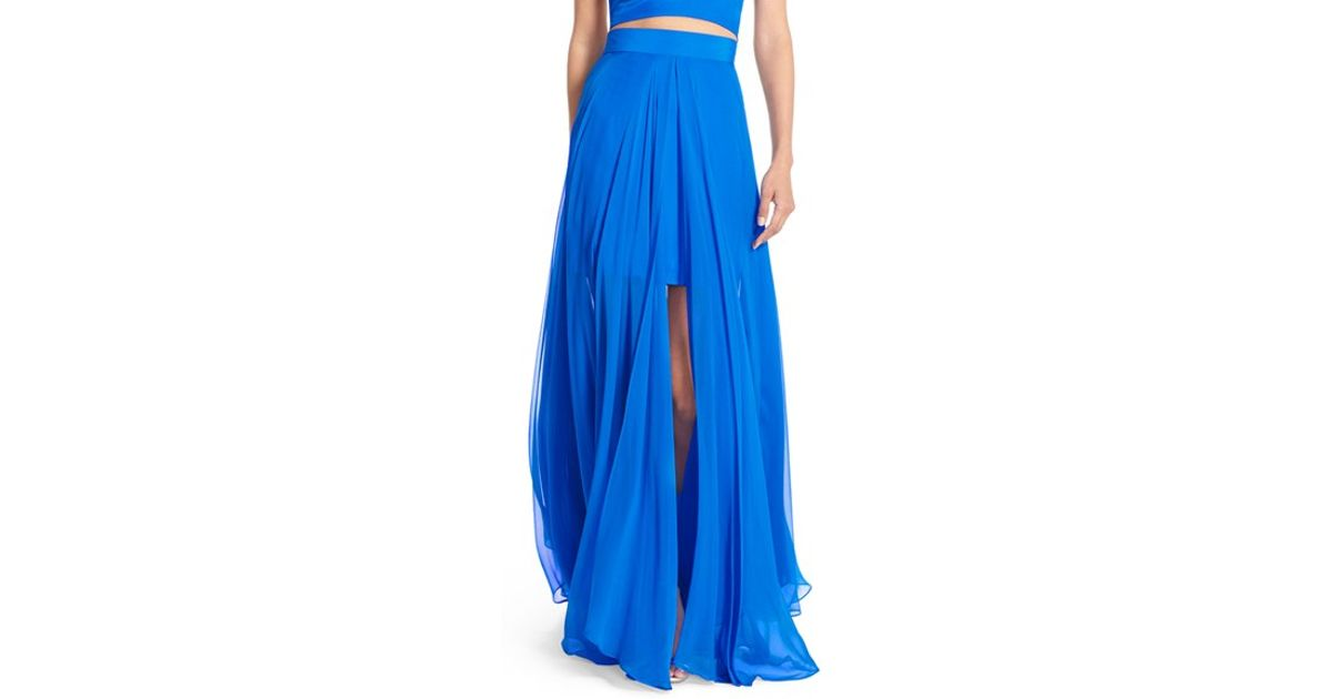 milly silk maxi skirt in blue lyst