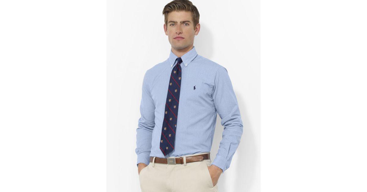 d09c447421e86 Lyst - Ralph Lauren Polo Blue   White Check Custom Oxford Shirt - Slim Fit  in Blue for Men
