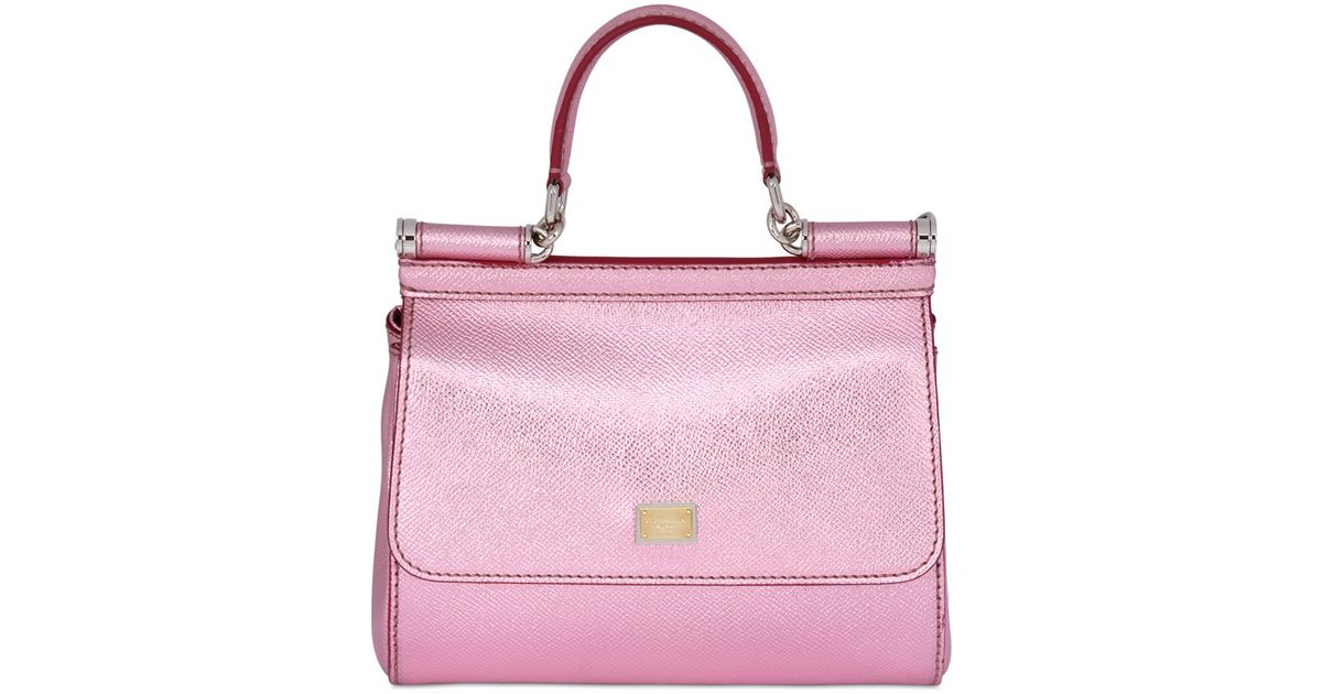 ef0542060a Lyst - Dolce   Gabbana Small Sicily Lamé Dauphine Leather Bag in Pink