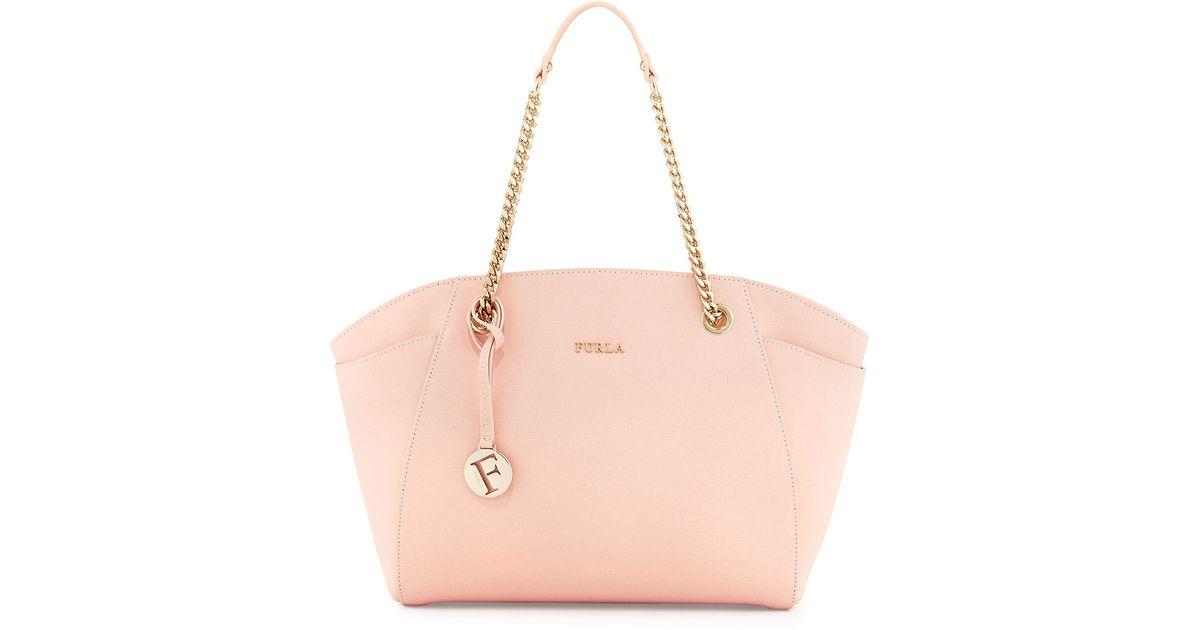Furla Julia East-West Leather Tote Bag in Pink