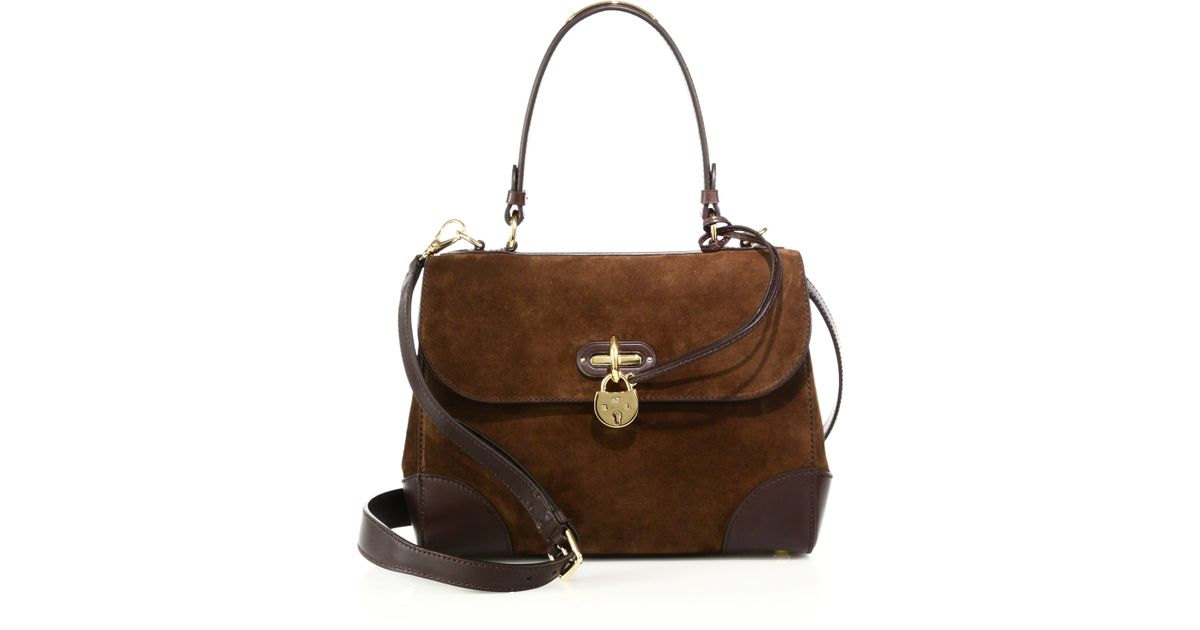 343d113774 Lyst - Ralph Lauren Collection Tiffin Small Suede   Leather Top-handle  Satchel in Brown