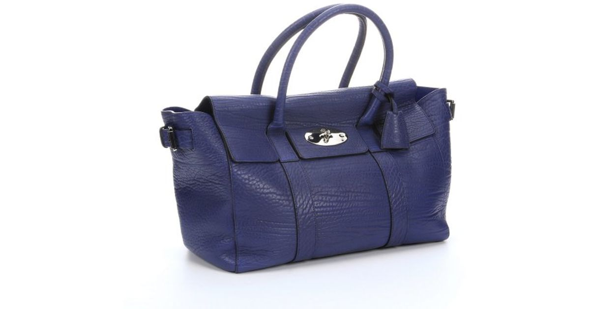 ... inexpensive lyst mulberry indigo shrunken calfskin bayswater buckle  tote bag in blue d10c2 9fab9 3056d08092bbf