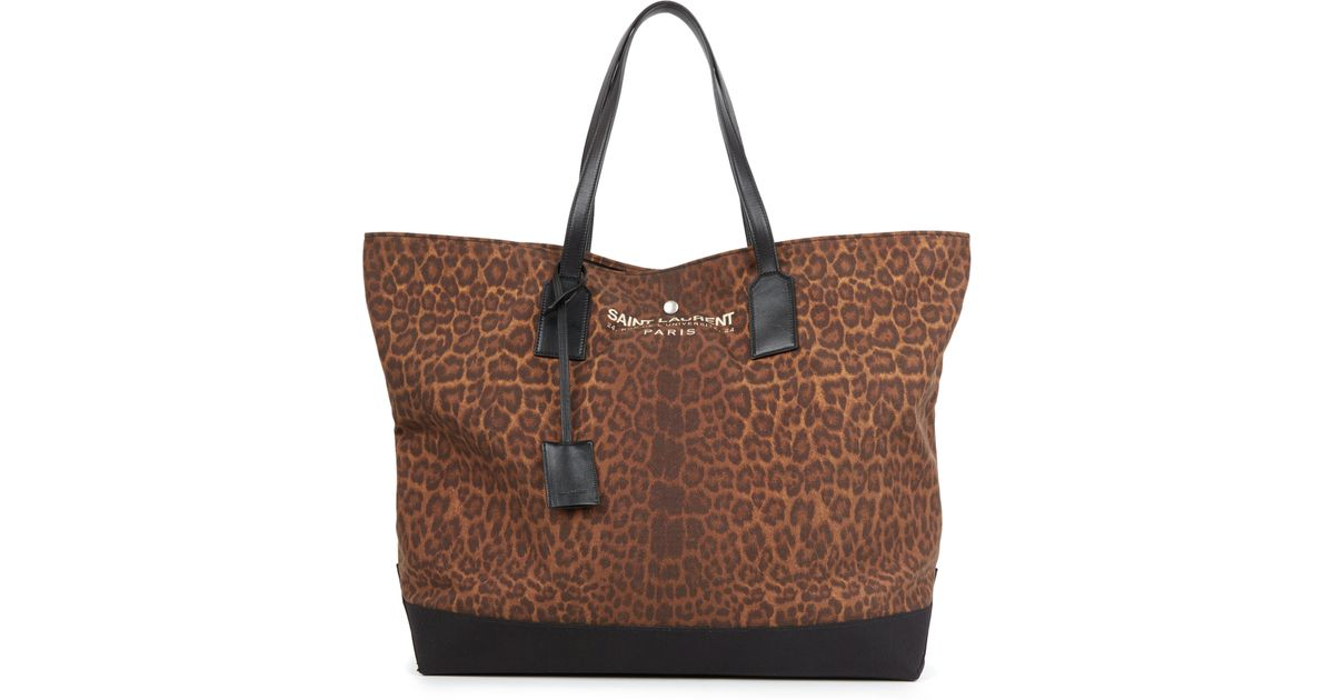 yves saint laurent blue bag - Saint laurent Leopard-print Canvas \u0026amp; Leather Beach Tote in Natural ...