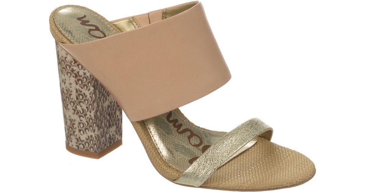 7685e92eaf354 Sam Edelman Yoselin Embellished Nude Leather Stilettos in Metallic - Lyst