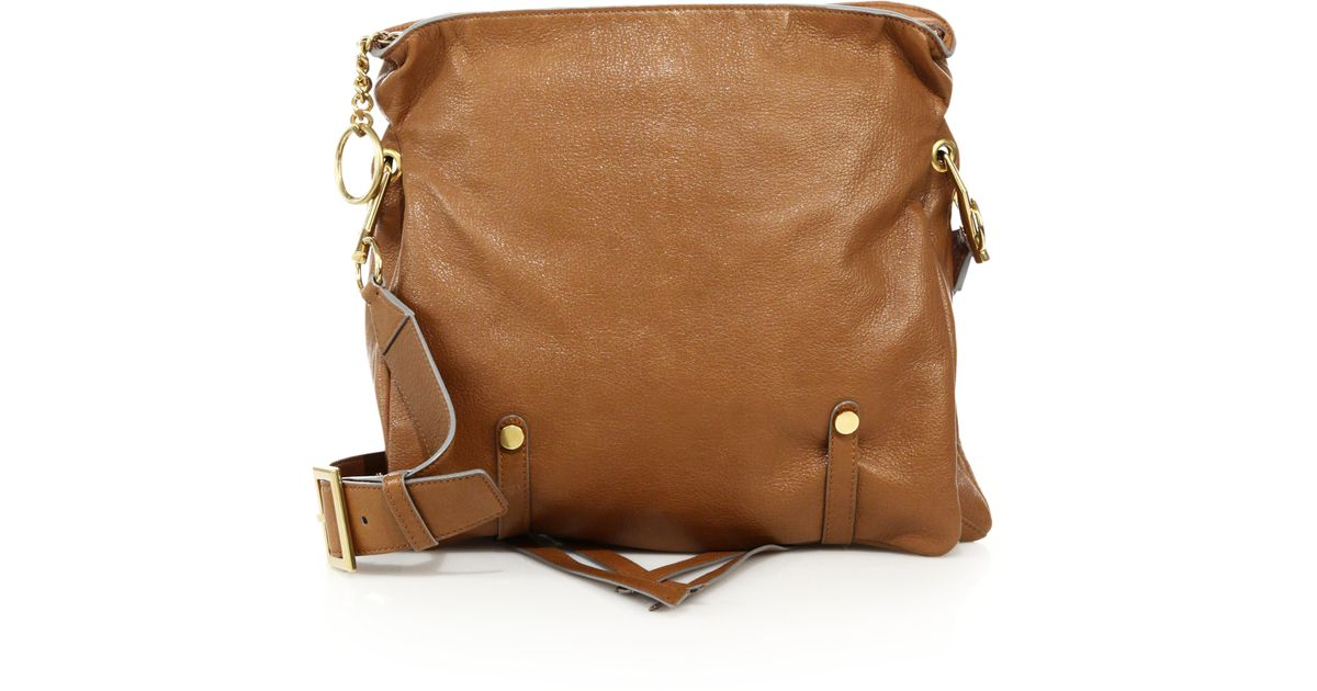 Jimmy choo Mardy Soft Leather Shoulder Bag in Brown | Lyst