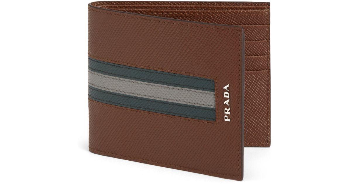 873a4032f6fff4 ... top quality lyst prada saffiano cuir striped bifold wallet in brown for  men 7dd66 ca110
