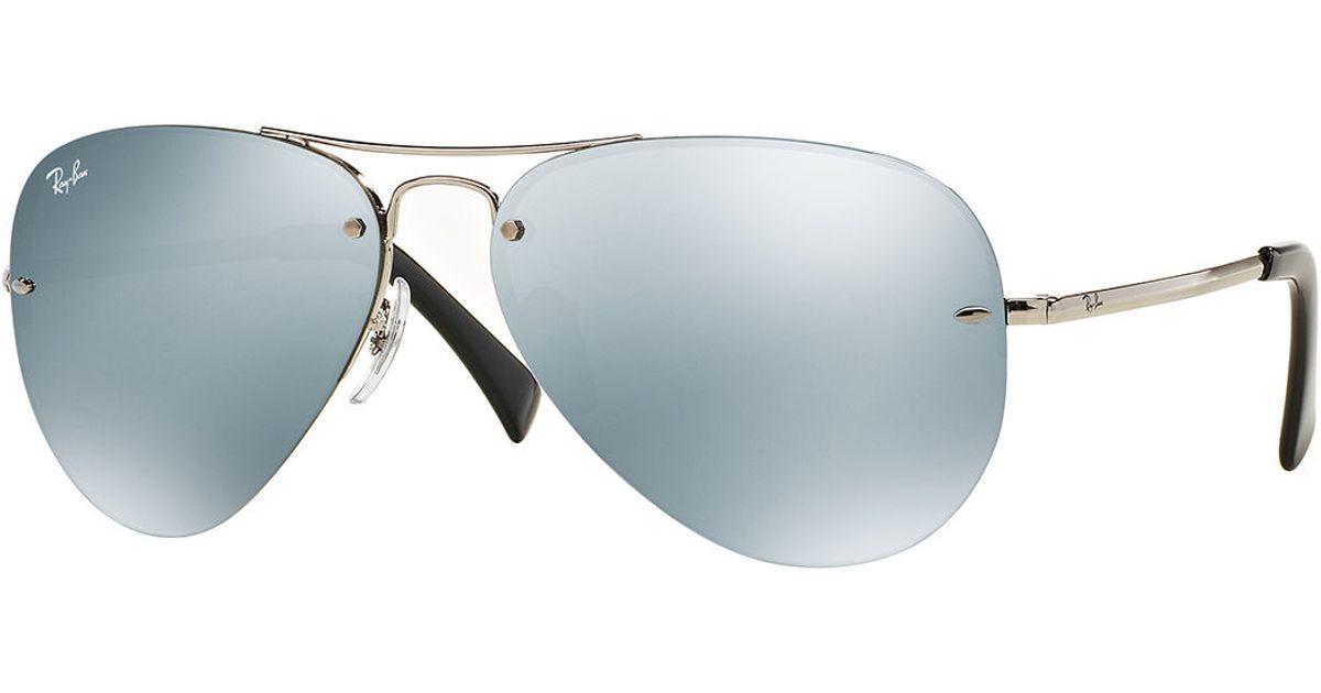 Rimless Aviator Sunglasses : Ray-ban Mens Semi-rimless Aviator Sunglasses in Metallic ...